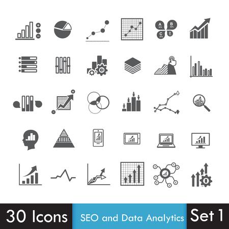 Set van SEO en Analytics-pictogram op een witte achtergrond vector illustratie eps10 Stock Illustratie