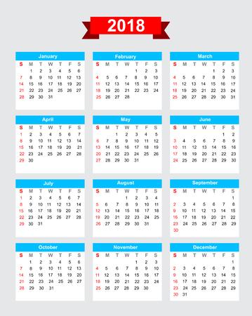 2018 calendar week start sunday vector