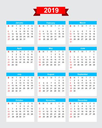 2019 calendario inizio settimana domenica vettore Archivio Fotografico - 46613076
