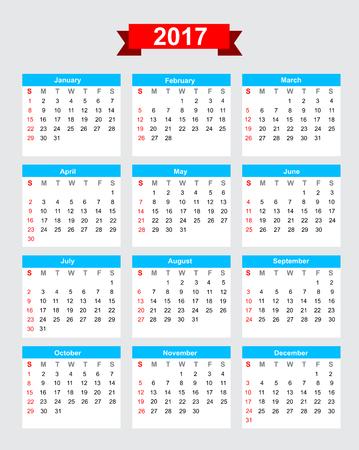 2017 calendar début de semaine dimanche vecteur Banque d'images - 46613074