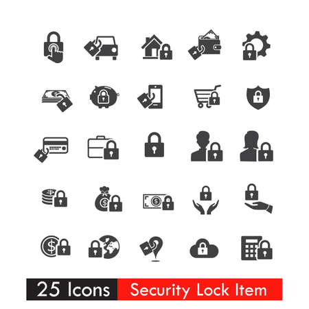 dollar icon: Set of lock icons and currency business item vector eps10