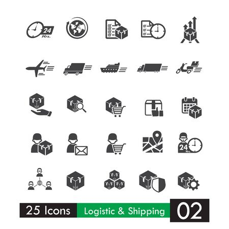 iconos de transporte: Set of 25 logistic distribution shipping and transport icons vector illustration isolated on white background