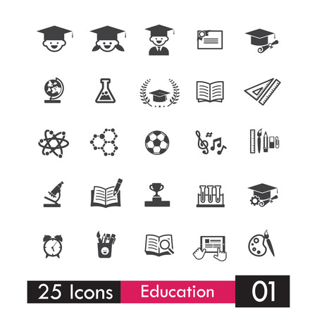 writing book: Set of 25 icons education and learning grey icons vector illustration eps10