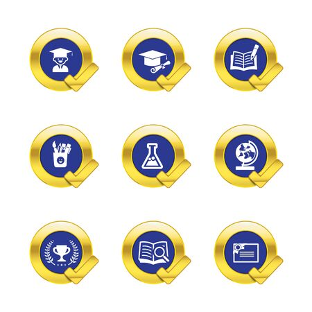 gold circle: Gold circle and check mark with education icons isolated on white background vector illustration