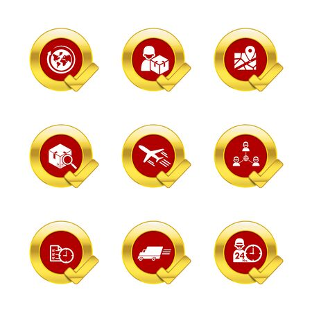 gold circle: Gold circle and check mark with logistic and transport icons isolated on white background vector illustration