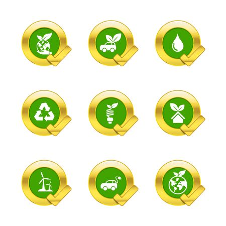 gold circle: Gold circle and check mark with eco icons isolated on white background vector illustration