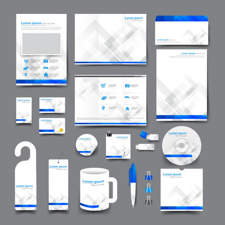 layout template: Big set trifold brochure business card letter head envelope stationery mug hang tag background template