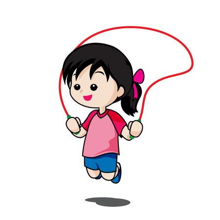 Nettes kleines Mädchen spielen springen Seil auf weißem Hintergrund Vektor-Illustration isoliert