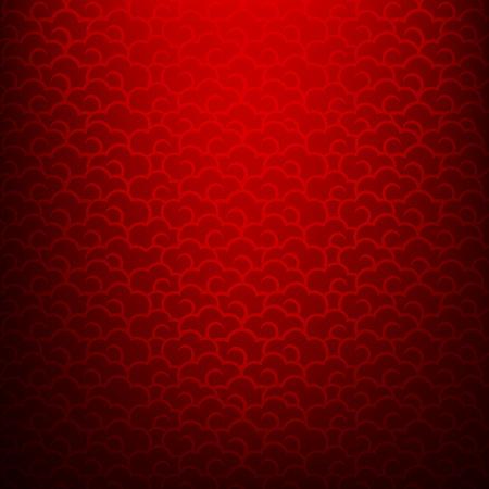 Abstracte donkere en rode achtergrond voor gelukkig Chinees nieuw jaar oosterse en traditionele golf wolk symbole element illustratie