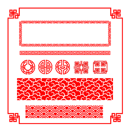 chinese new year element: Chinese happy new year red border for decoration design element illustration