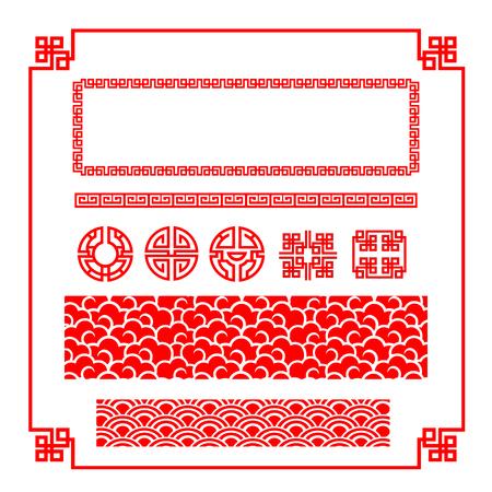 Cinese felice bordo rosso anno nuovo per la decorazione elemento di design illustrazione Archivio Fotografico - 50602133