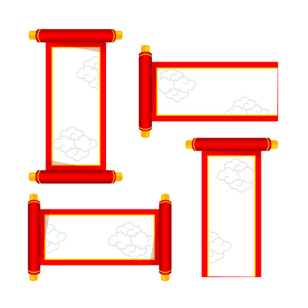 chinese new year element: Chinese happy new year red boarder decoration design element illustration