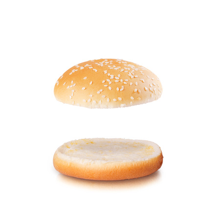 Open burger bun with blank space isolated on the white background