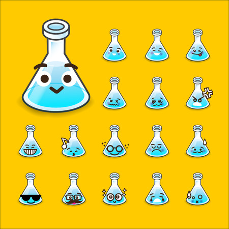 yellow yellow lab: Collection of difference emoticon flask icon test tube chemical lab cartoon on yellow background illustration