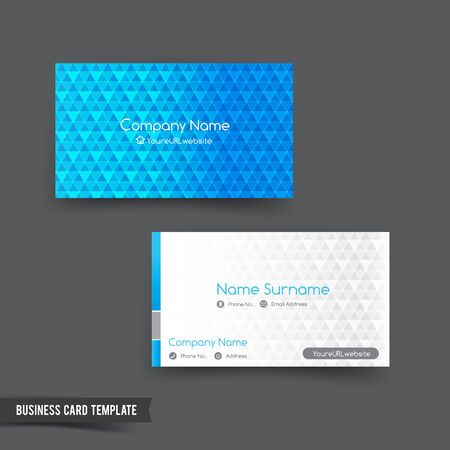 Business Card template set blue color and geometry element illustration