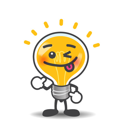 Bulb lamp cartoon isolated showing thumb up on the white background illustration