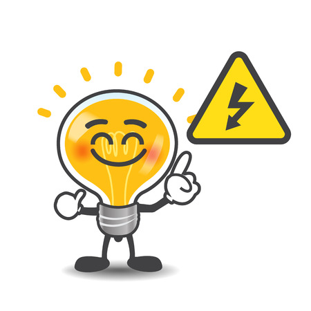 Bulb lamp cartoon pointing to electric power volt symbol isolated on the white background illustration
