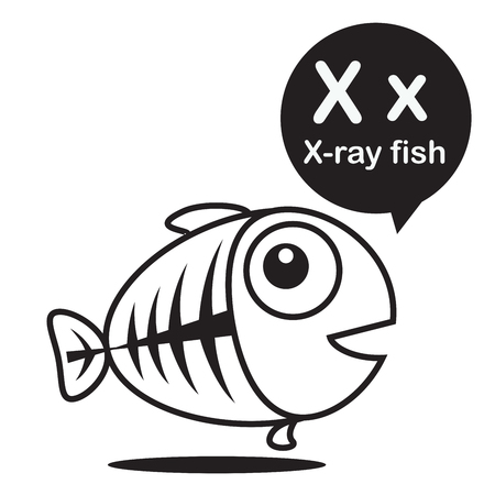 x xray: X X-ray fish animal cartoon and alphabet for children to learning and coloring page vector illustration eps10