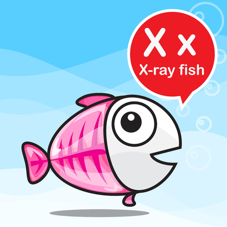 x xray: X X-ray fish animal cartoon and alphabet for children to learning vector illustration eps10