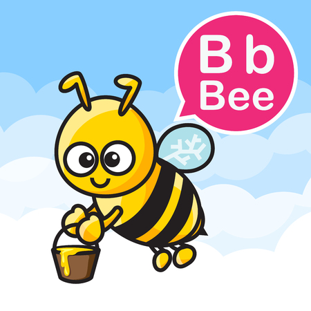 B Bee cartoon and alphabet for children to learning vector illustration eps10