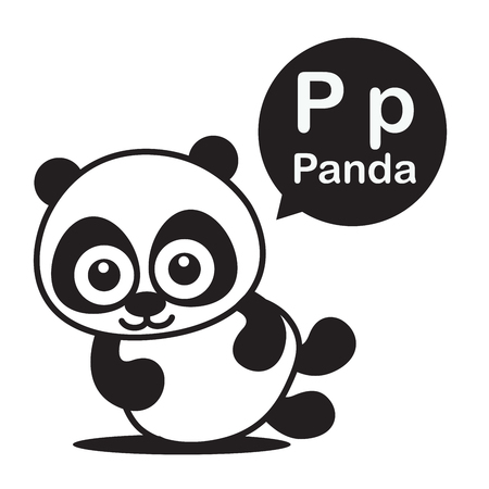 P Panda animal cartoon and alphabet for children to learning and coloring page vector illustration eps10