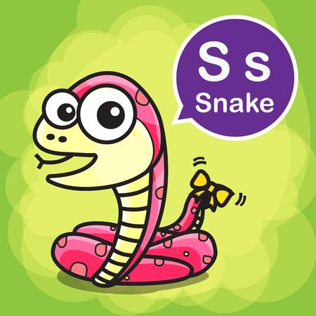 serpiente caricatura: S serpiente de la historieta del animal y el alfabeto para los niños para el aprendizaje ilustración vectorial eps10