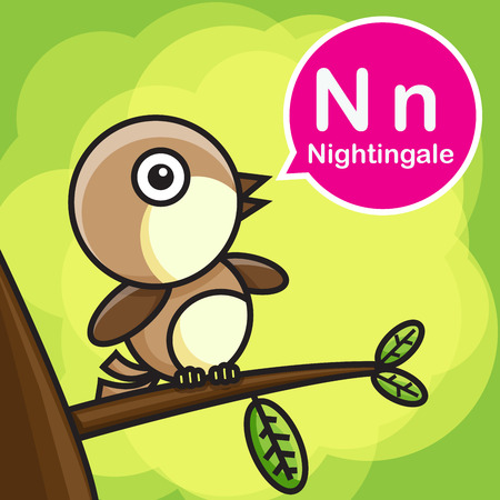 ruise�or: N Nightingale animal cartoon and alphabet for children to learning vector illustration eps10 Vectores