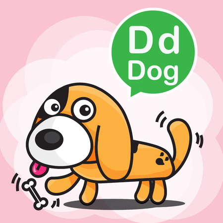 wag: D Dog cartoon and alphabet for children to learning vector illustration eps10