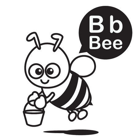 B Bee cartoon and alphabet for children to learning and coloring page vector illustration eps10 Ilustração
