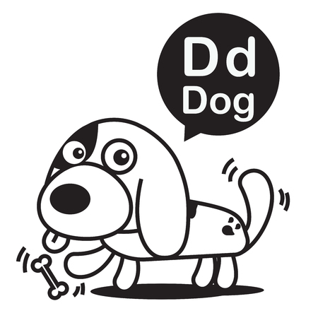 wag: D Dog cartoon and alphabet for children to learning and coloring page vector illustration eps10