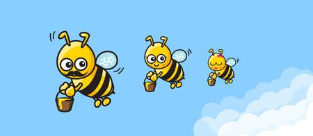 cartoon dad: The family of bee cartoon mom dad and baby carrying the honey and fly on blue sky background vector illustration eps10