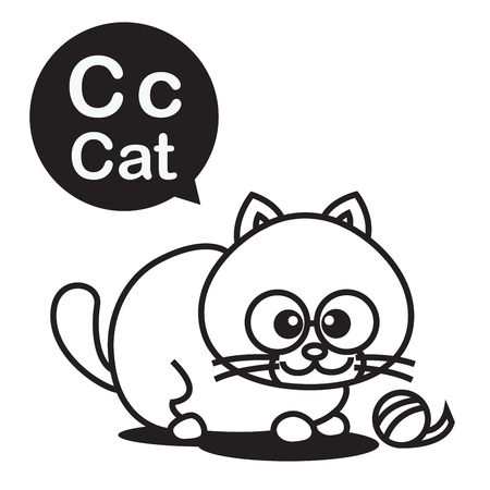 cat alphabet: C Cat cartoon and alphabet for children to learning and coloring page vector illustration eps10 Illustration