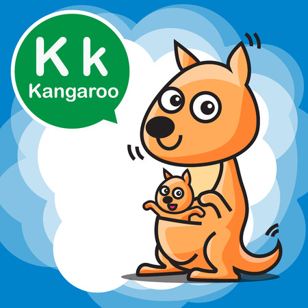 cartoon reading: K Kangaroo cartoon and alphabet for children to learning vector illustration eps10
