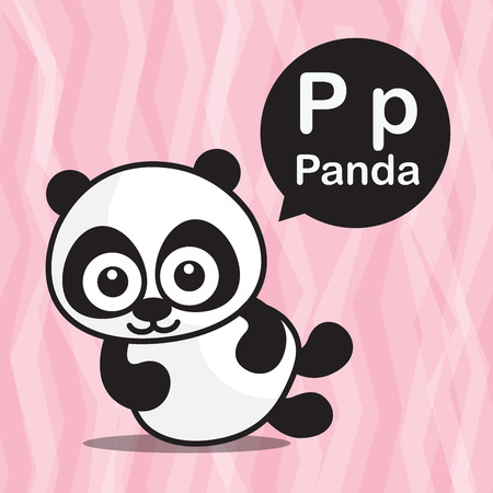 P Panda animal cartoon and alphabet for children to learning vector illustration eps10