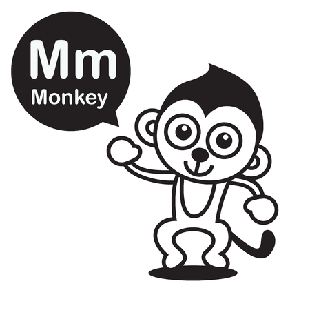 Dibujos Animados De Mono M Y Alfabeto Para Niños Para Aprender Y ...
