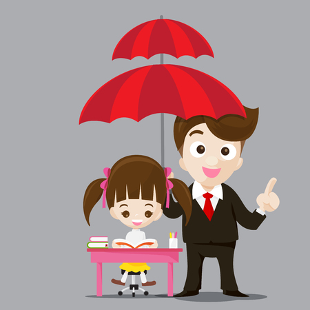 protect concept: Education protect concept business man cartoon smile and umbrella in hand with cute little girl reading a book vector illustration eps10