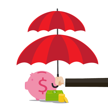 red umbrella: Hand of business man holding the red umbrella to protect piggy bank and  money vector illustration Illustration