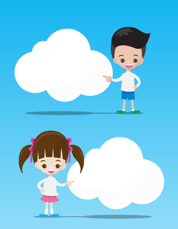 stickmen: The kids boy and girl pointing at the blank cloud with copyspace on blue background vector illustration