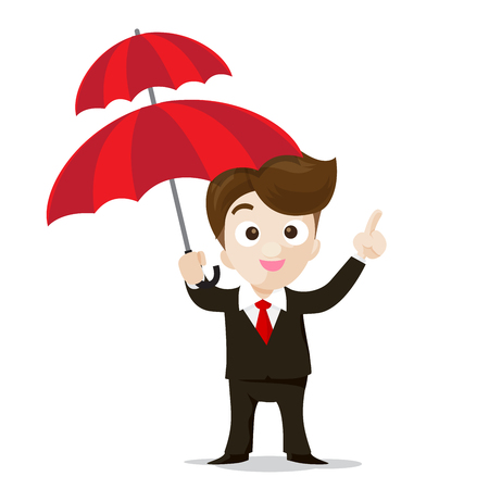 finger point: Business protection concept business man cartoon smile showing the finger point and umbrella in hand with confidence vector illustration isolated on white background Illustration