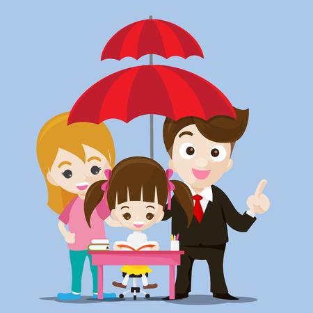 Istruzione proteggere concetto di uomo d'affari cartoon sorriso e ombrello in mano con cute bambina che legge un libro illustrazione vettoriale
