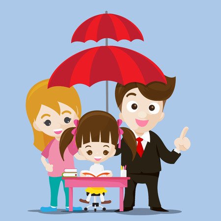 Education protect concept business man cartoon smile and umbrella in hand with cute little girl reading a book vector illustration Illustration