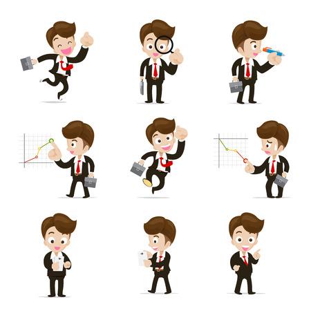Set van 9 zakenman in verschil actie vectorillustratie geïsoleerd op een witte achtergrond Vector Illustratie