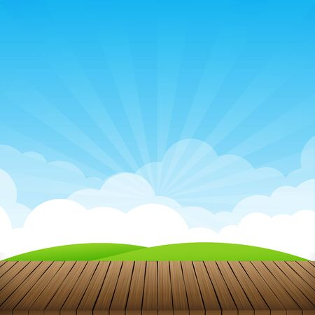 brown wood floor with green field and blue sky background empty room with space vector