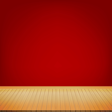 brown wood floor with red background empty room with space vector vector