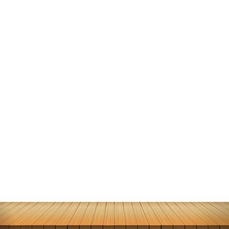 Brown wood floor on white background empty room with space vector illustration