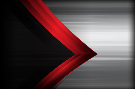 brushed steel: Dark chrome brushed steel and red overlap element abstract background vector illustration