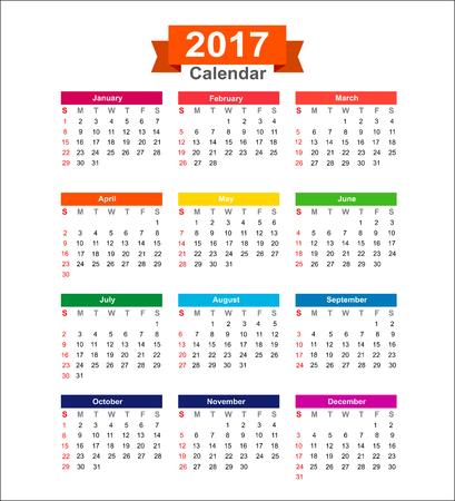 calendar isolated: 2017 Year calendar isolated on white background vector illustration Illustration