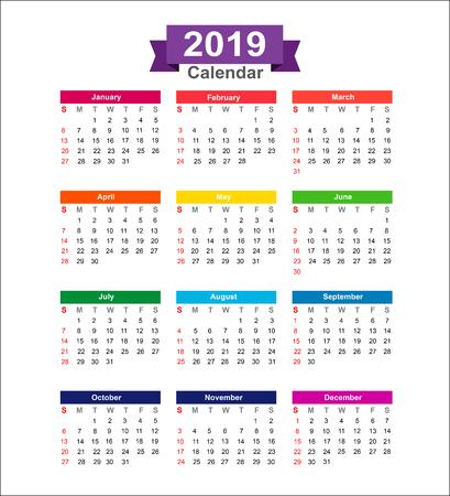 白い背景のベクトル図に分離された 2019 年のカレンダー