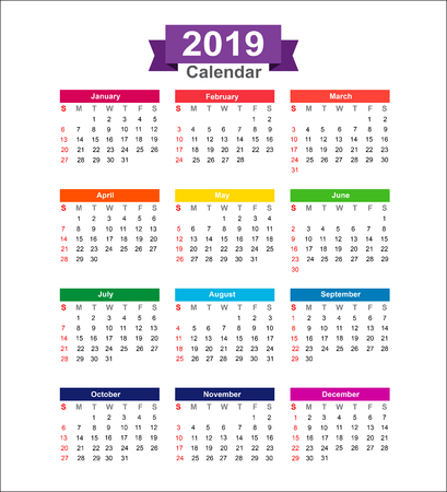 2019 Year calendar isolated on white background vector illustration Ilustrace