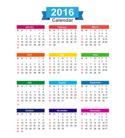 calendar isolated: 2016 Year calendar isolated on white background vector illustration